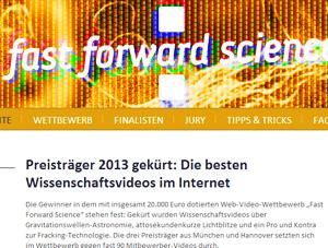 """Vorbilder für Wissenschafts-Videos im Web - die Website von """"fast forward science""""."""