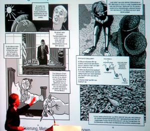 Comics leben von Reduktion: Prof. Leinfelder präsentiert seinen Comic.