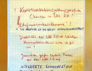 Mediengerecht? - Ergebnisse aus einer Diskussion zum Web 2.0 auf Flipchart.