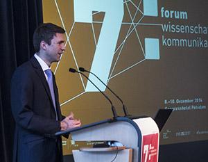 Wankas Parlamentarischer Staatssekretär Stefan Müller beim 7.  Forum Wissenschaftskommunikation in Potsdam.