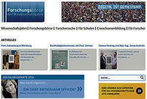 Neue Initiativen der Wissenschaftskommunikation: Website Forschungsbörse.