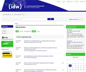 Die IDW-Website: Pressemeldungen in Listen, alles in gleicher Schrifttype.