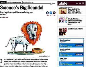 Skandale in der Wissenschaft  - Auch Peer Review ist käuflich; berichtet das Online Magazin Slate.