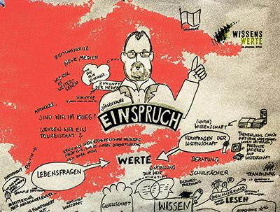 Auch schön - Das noch unfertige Graphic Recording von Anja Weiss zum Vortrag von Jürgen Kaube, leicht koloriert.