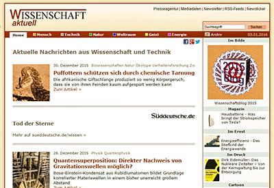 """Immer auf dem Laufenden im News-Portal: Der Blog """"Wissenschafts aktuell""""."""