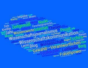 """Stichworte der Wissenschaftskommunikation - Word-Cloud aus den titeln des Jahres 2015 von """"Wissenschaft kommuniziert""""."""